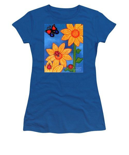 Three Ladybugs And Butterfly Women's T-Shirt (Junior Cut)