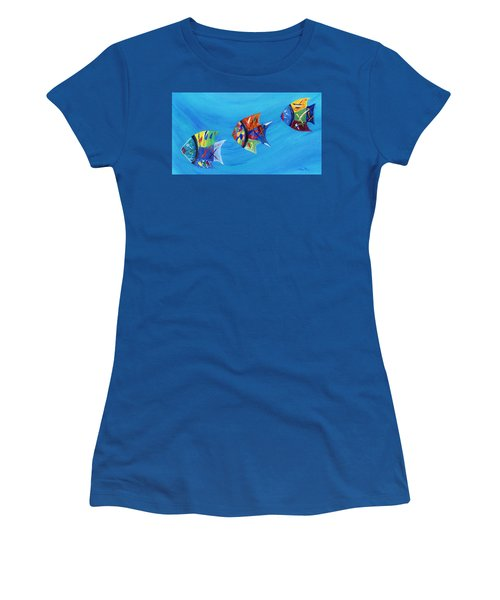 Women's T-Shirt (Athletic Fit) featuring the painting Three Little Fishy's by Jamie Frier