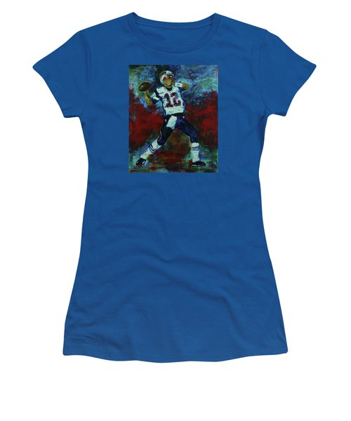 Women's T-Shirt (Junior Cut) featuring the painting Tom Brady - Patriot Football by Walter Fahmy