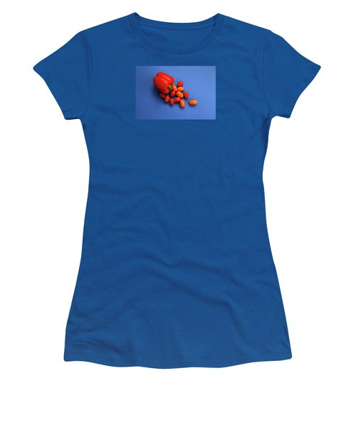 Tomatoes And Capsicum On Blue Women's T-Shirt