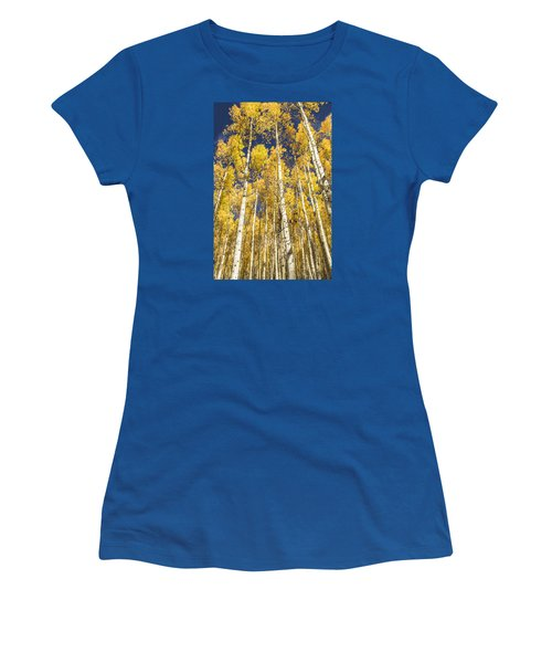 Women's T-Shirt (Junior Cut) featuring the photograph Towering Aspens by Phyllis Peterson