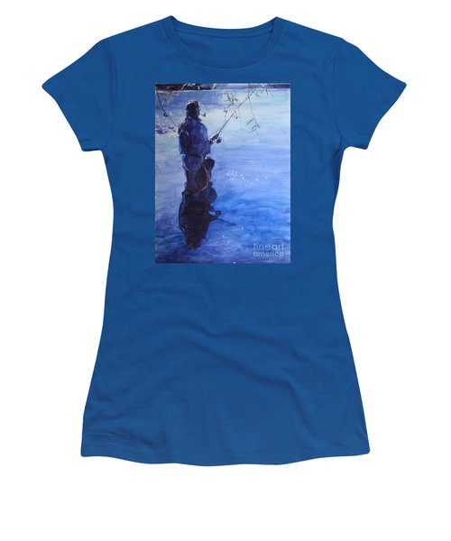 Tranquil Fishing Women's T-Shirt (Junior Cut) by Greta Corens