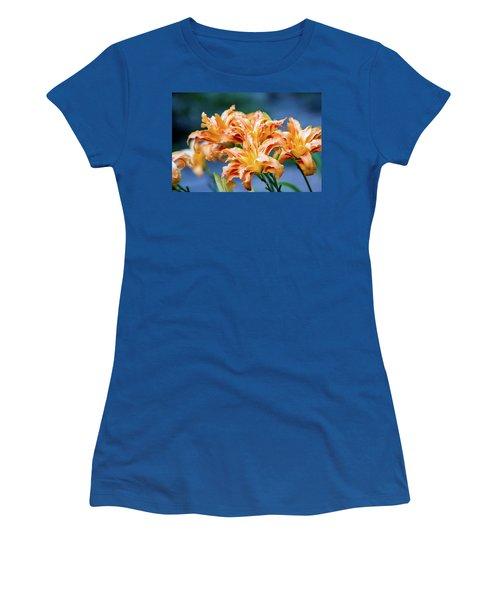Women's T-Shirt (Junior Cut) featuring the photograph Triple Lilies by Linda Segerson