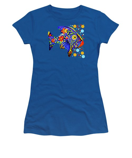 Women's T-Shirt featuring the digital art  Tropical Fish by Eleni Mac Synodinos