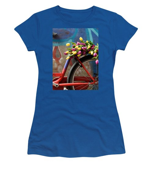 Women's T-Shirt (Junior Cut) featuring the photograph Tulip Bike by Phyllis Peterson