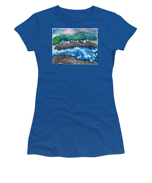 Women's T-Shirt (Junior Cut) featuring the painting Turbulent Waters by Antonio Romero
