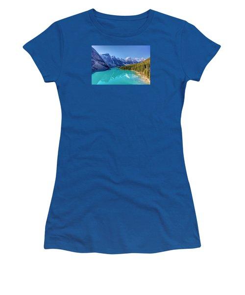 Turquoise Splendor Moraine Lake Women's T-Shirt (Junior Cut) by Pierre Leclerc Photography