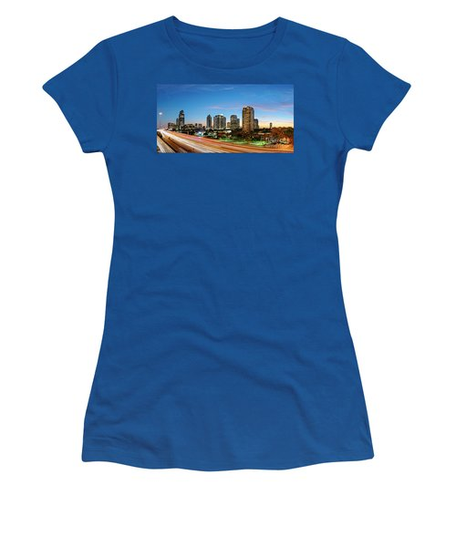 Twilight Panorama Of Uptown Houston Business District And Galleria Area Skyline Harris County Texas Women's T-Shirt