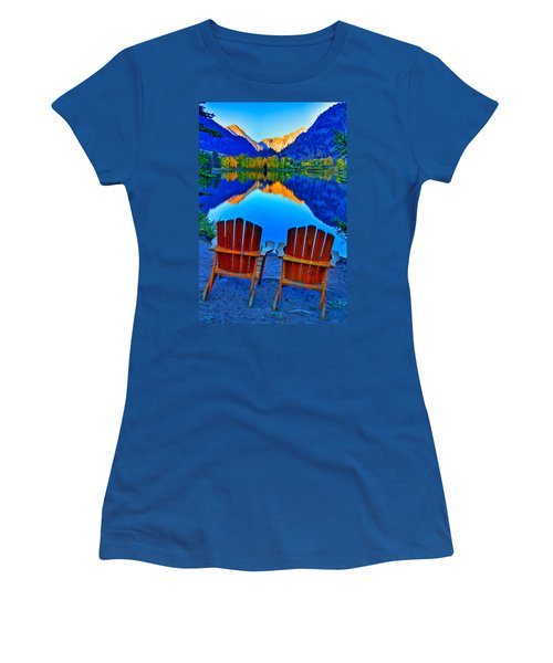Two Chairs In Paradise Women's T-Shirt (Junior Cut) by Scott Mahon