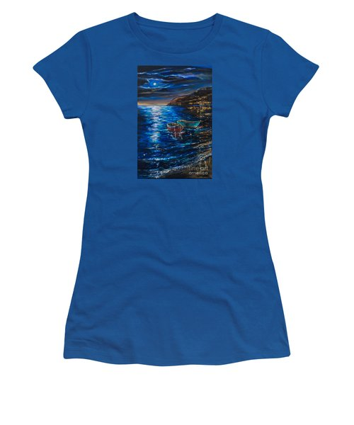 Women's T-Shirt (Junior Cut) featuring the painting Two Dinghies by Linda Olsen