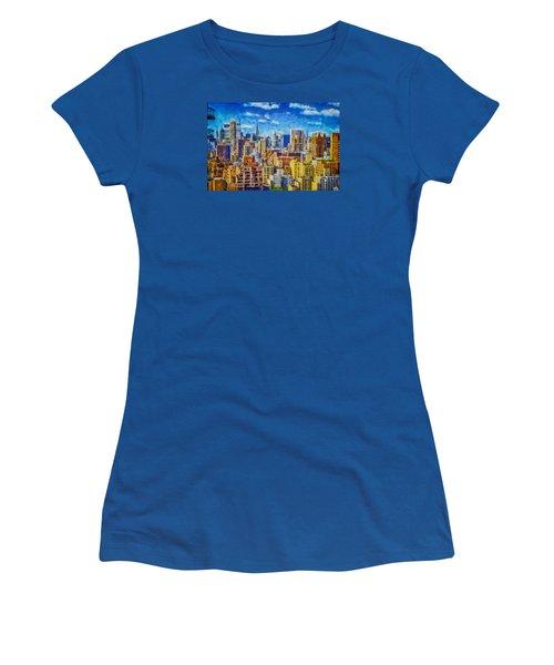 Women's T-Shirt (Junior Cut) featuring the digital art Upper Eastside Skyline by Kai Saarto