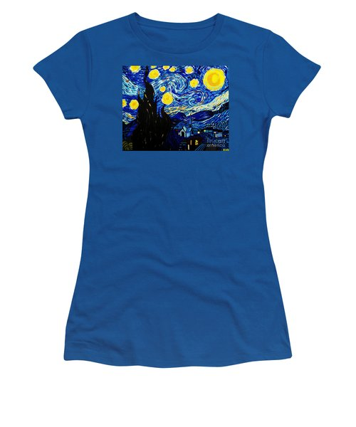 Van Gogh Starry Night  Women's T-Shirt (Junior Cut) by Scott D Van Osdol
