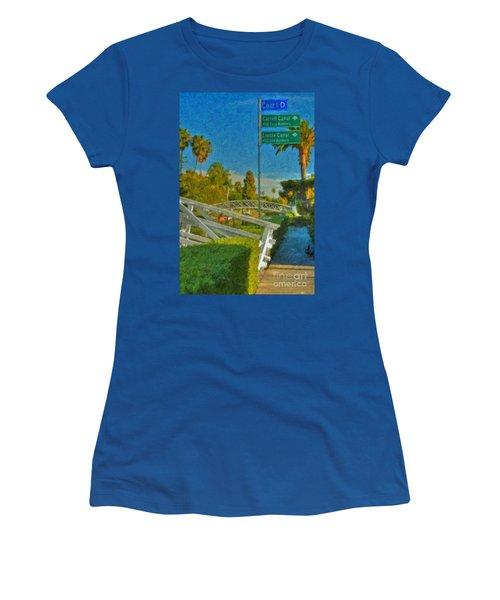 Women's T-Shirt (Junior Cut) featuring the photograph Venice Canal Bridge Signs by David Zanzinger