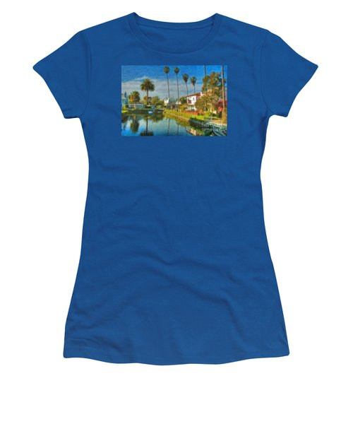 Venice Canal Houses Watercolor  Women's T-Shirt (Junior Cut) by David Zanzinger