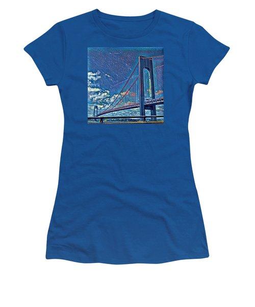 Verrazano Bridge Women's T-Shirt (Junior Cut) by Rita Tortorelli