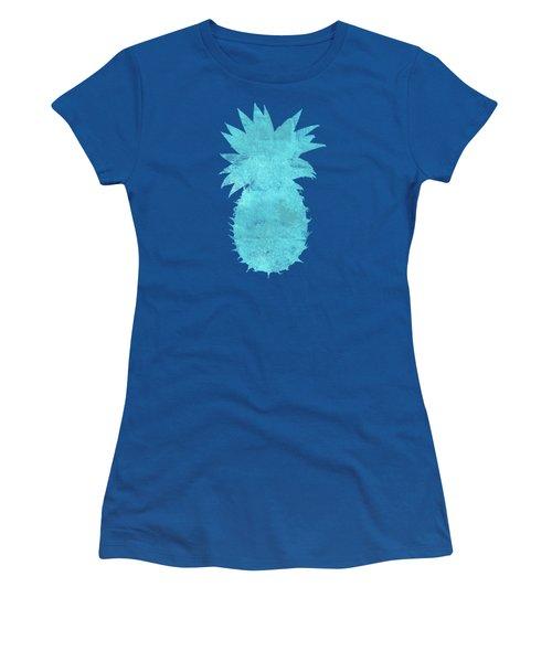 Vibrant Blue Tropical Pineapple Beach House Coastal Art Women's T-Shirt (Athletic Fit)