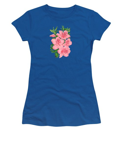 Victorian Pink Flowers On Navy Women's T-Shirt (Athletic Fit)