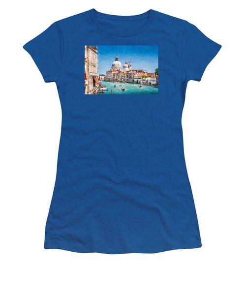 Women's T-Shirt (Junior Cut) featuring the digital art View Of Canal Grande by Kai Saarto