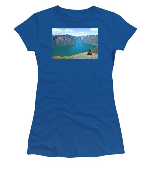 Visitor At Aurlandsfjord Women's T-Shirt (Athletic Fit)