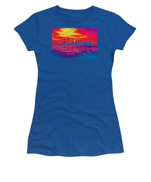 Vivid Skyline Of New York City, United States Women's T-Shirt
