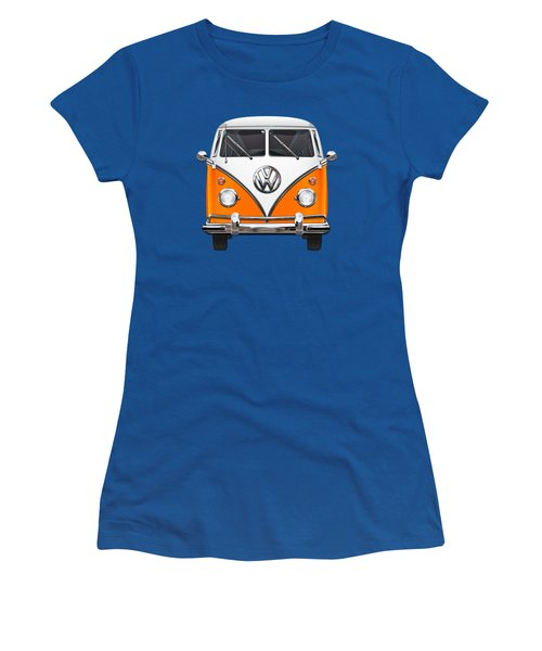 Volkswagen Type - Orange And White Volkswagen T 1 Samba Bus Over Blue Canvas Women's T-Shirt (Junior Cut) by Serge Averbukh
