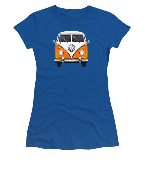 Volkswagen Type - Orange And White Volkswagen T 1 Samba Bus Over Blue Canvas Women's T-Shirt (Junior Cut) by Serge Averbukh