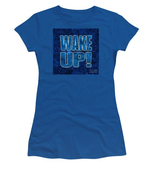 Women's T-Shirt (Junior Cut) featuring the digital art Wake Up Space Background by Ginny Gaura