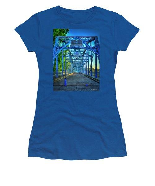 Walking Tall Walnut Street Pedestrian Bridge Art Chattanooga Tennessee Women's T-Shirt (Junior Cut) by Reid Callaway
