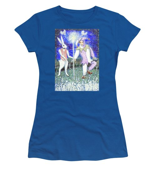 Women's T-Shirt (Athletic Fit) featuring the painting Wand With Magician And Jester by Lise Winne