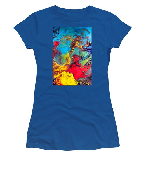 Wanderer - Abstract Colorful Mixed Media Painting Women's T-Shirt (Junior Cut) by Modern Art Prints