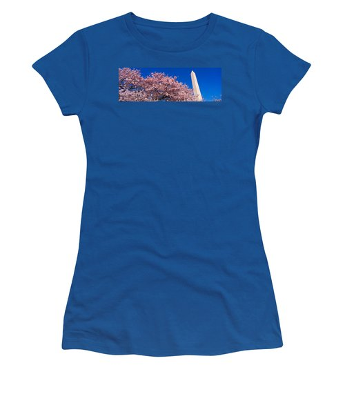 Washington Monument & Spring Cherry Women's T-Shirt (Junior Cut) by Panoramic Images