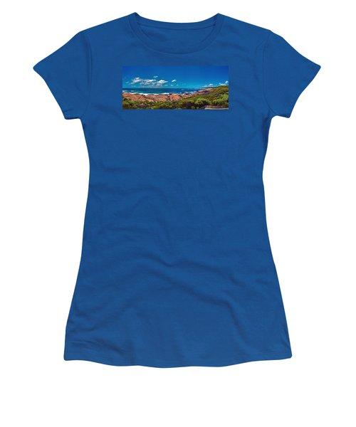 Women's T-Shirt (Junior Cut) featuring the photograph Western Australia Beach Panorama Margaret River by David Zanzinger