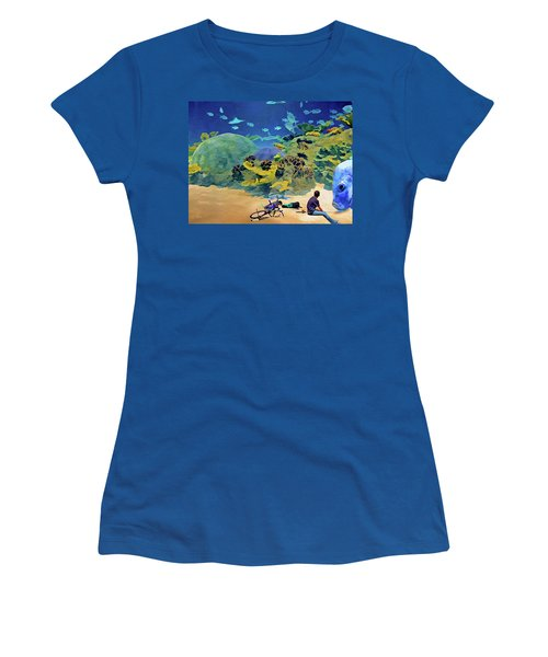 Women's T-Shirt (Athletic Fit) featuring the mixed media Who's Fishing? by Lynda Lehmann