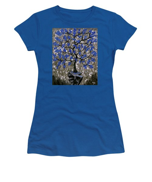 Women's T-Shirt (Junior Cut) featuring the painting Winter Blues by Teresa Wing