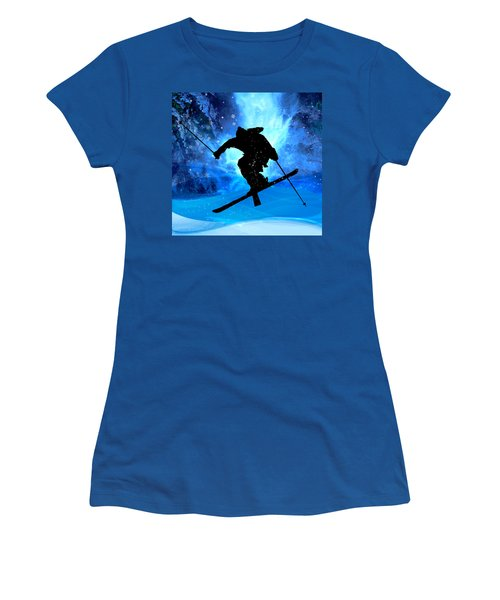 Winter Landscape And Freestyle Skier Women's T-Shirt