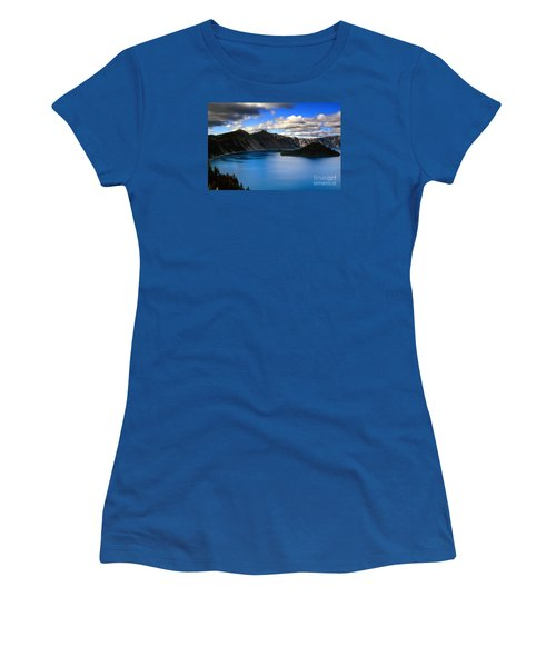 Wizard Island Stormy Sky- Crater Lake Women's T-Shirt