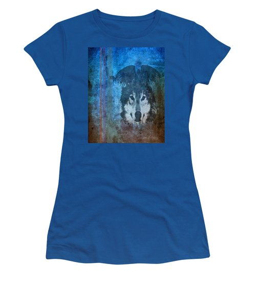 Wolf And Raven Women's T-Shirt (Junior Cut) by Thomas M Pikolin