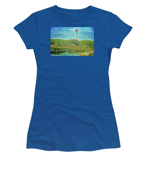 Women's T-Shirt (Junior Cut) featuring the photograph Working Windmill  by Ray Shrewsberry