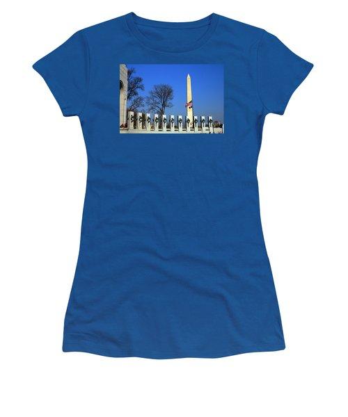 World War II Memorial And Washington Monument Women's T-Shirt