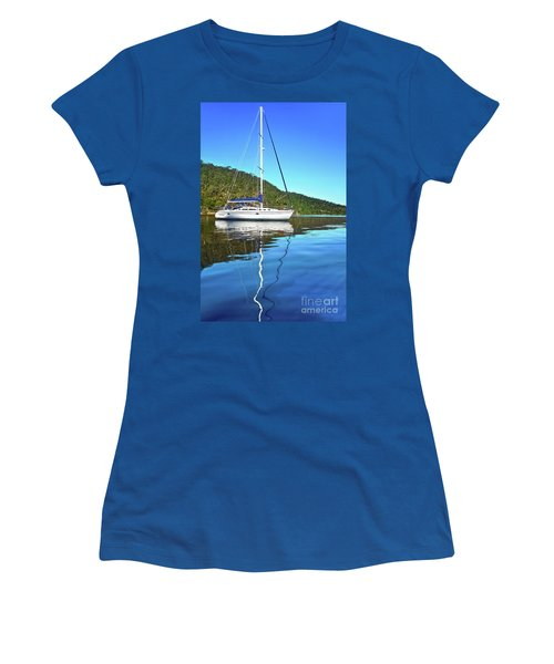 Women's T-Shirt (Athletic Fit) featuring the photograph Yacht Reflecting By Kaye Menner by Kaye Menner