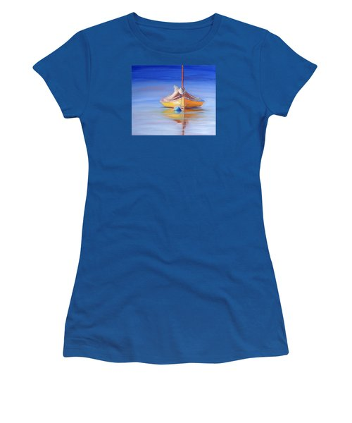 Yellow Hull Sailboat Iv Women's T-Shirt (Junior Cut) by Trina Teele