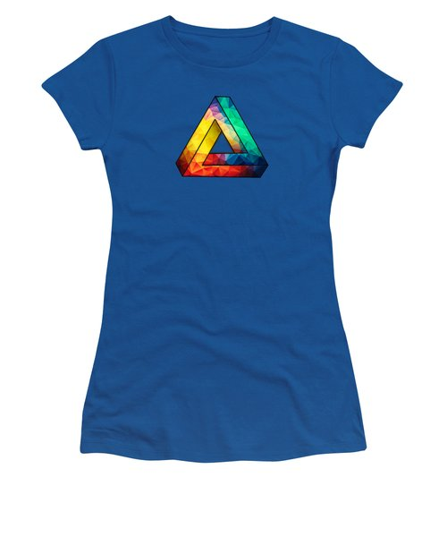 Abstract Polygon Multi Color Cubism Low Poly Triangle Design Women's T-Shirt