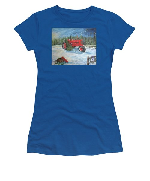Antique Tractor At The Christmas Tree Farm Women's T-Shirt