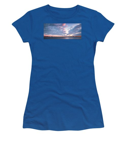 Women's T-Shirt featuring the photograph Big Sky Over Portsmouth Light. by Jeff Sinon