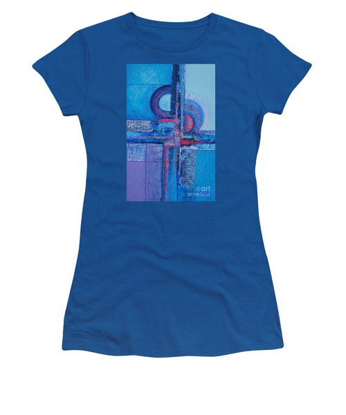 Blues With Purple Abstract Women's T-Shirt