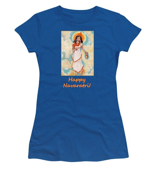 Brahmacharini In A White Dress On Background Of Blue Sky Women's T-Shirt