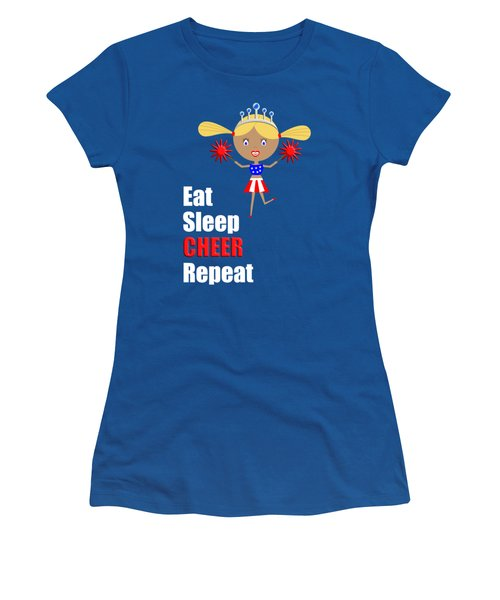 Cheerleader And Pom Poms With Text Eat Sleep Cheer Women's T-Shirt