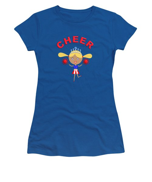 Cheerleader With Pom Poms And Cheer In Arched Text  Women's T-Shirt