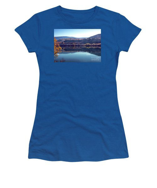 Women's T-Shirt featuring the photograph Train Reflection by Mae Wertz