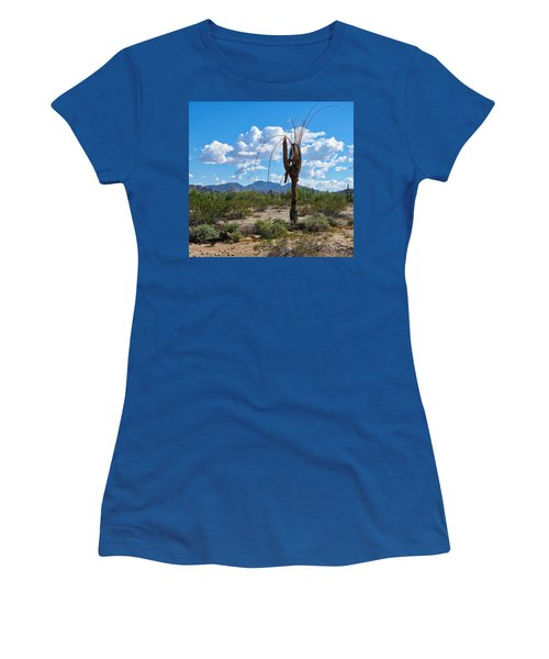 Women's T-Shirt featuring the photograph Dying Saguaro In The Desert by Judy Kennedy